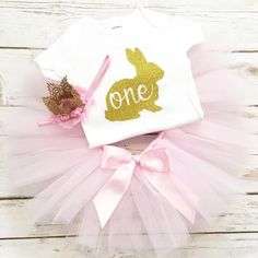Bunny First Birthday Outfit Easter First by HBSouthernInspired
