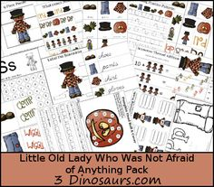 Free Little Old Lady Who Was Not Afraid of Anything Pack - over 70 pages of activities with print and cursive plus a Tot pack as well - 3Dinosaurs.com