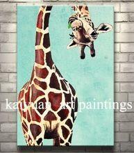 Jirafa pintado a mano pintura del arte en la lona Animal encantador pinturas para la decoración del hogar 1 unid(China (Mainland))