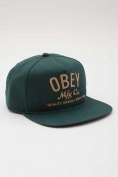 94cf1938ac6 Obey MFG Snapback Hat Green Obey Cap