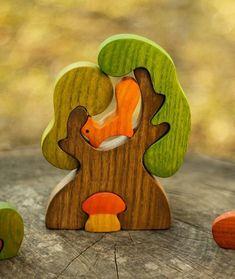 Waldorf Holz Baum, Eichhörnchen und Pilz Holzpuzzle Eco pädagogische Kind lernen Spielzeug Kleinkind Geschenk handgefertigte Wald Märchen