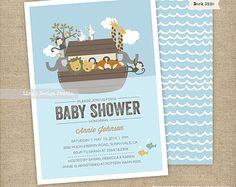 Noah's Ark Invitations/ Noah's Ark Baby Shower Invitations Set | Printable or Printed Flat Cards