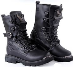 Men's Mid-Calf Half Boots,High-Top Shoes,Metal Eagle Totem PU Leather Outdoor Martin Winter Combat Army Boots,US Size 6.5-10