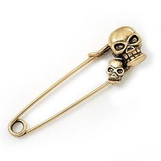 Double Skull Safety Pin Brooch In Burn Gold Metal - 6.5cm Length Avalaya. $16.20. Collection: pirate. Theme: skull, skeleton. Occasion: party, cocktail party, casual wear. Wear On: apparel, lapel, bag, pocket. Metal Finish: antique gold