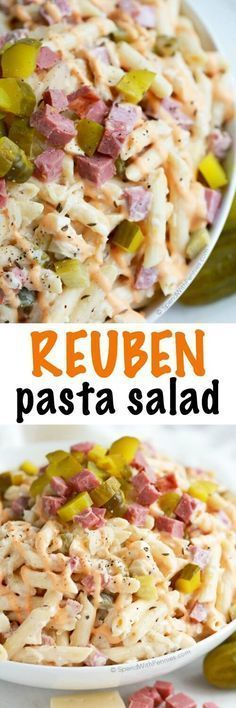 This Reuben Pasta salad has all of the amazing flavors of your favorite Sandwich! Corned beef, swiss, sauerkraut and pickles are tossed with a simple Reuben inspired dressing for one the best potluck salads you've ever had! (cold food for parties) Creamy Pasta Salads, Pasta Salad Recipes, Mac Salad Recipe, Macaroni Salads, Zoodle Recipes, Corned Beef, Potluck Salad, Sauerkraut, Saveur