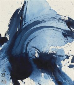 Kazuo Shiraga - Prussian Blue (1977) - http://www.sothebys.com/en/auctions/ecatalogue/2016/contemporary-art-day-l16023/lot.121.html