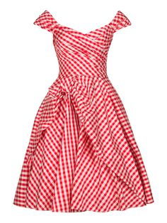 IT'S MY PARTY DRESSsilk check red