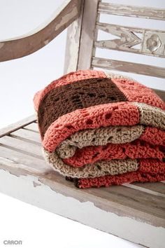 The Square Dance Crochet Blanket from Caron is a classic crochet motif blanket, that's easy to follow and quick to work up.