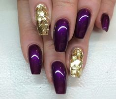 Purple & Gold Coffin Nails