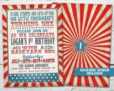 4th of July Birthday Invitations with Envelopes Stars /& Stripes and Lots of Fun Shabby Chic Firecracker Photo Birthday Invitation