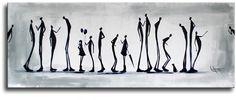 KUNSTSCHILDERIJEN: mooi groot schilderij in wit en zwarte kleuren
