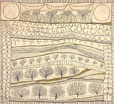 A continuous line draws the land, the plants, the topography of the earth and the sky. Marina Strocchi ' The Sun & The Moon' Acrylic on Linen Line Drawing, Painting & Drawing, Art Brut, Art Textile, Wow Art, Aboriginal Art, White Art, Pattern Art, Doodle Art