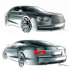 Bentley's Flying Spur. Exterior sketches by John Paul Gregory