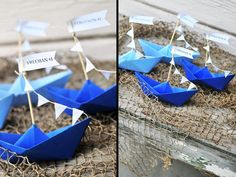 Navy / Nautical Themed Origami Boat Place Cards