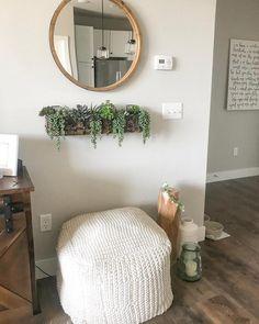 Round Decorative Wall Mirror Wood Barrel Frame - Threshold