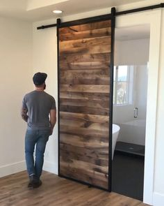 Room Door Design, Door Design Interior, Bedroom Closet Design, Home Room Design, Interior Decorating, Interior Barn Doors, Bathroom Design Luxury, Washroom Design, Barn Door Designs