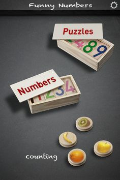 Funny Numbers ($0.00) three different games in the same application. A first set of puzzles for the kid to become familiar with numbers from 0 to 9; a game where the kid will have to recognize the number called for among several options, and another one that slowly will teach the kid how to count to 9 playing with fruit cards.  This game includes subtitles for hearing impaired kids and it can be changed to Spanish language to learn at the same time the numbers in this language.