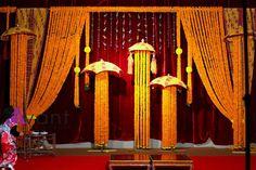 The Flowers Of Prosperity - Marigold Decor Stage Decorations, Flower Decorations, Wedding Decorations, Sunflower Wedding Favors, Wedding Flowers, Big Fat Indian Wedding, Indian Weddings, Hindu Rituals, Telugu Wedding
