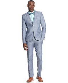 EDGE by WD-NY Linen Chambray Blazer & Linen Chambray Pants - Suits & Suit Separates - Men - Macy's