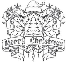 Merry Christmas Crest | Urban Threads: Unique and Awesome Embroidery Designs