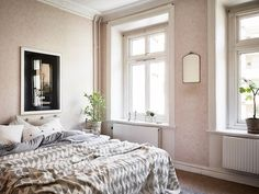 Soothing bedroom, paint color - a calm Swedish home in the heart of Gothenburg #bedroom