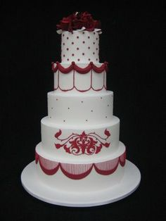 Red and white cake