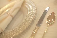 Gold/Ivory Glass Charger Plate with weave border