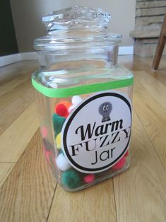 "Kids earn different sized ""warm fuzzies"" for different things- chores, doing nice things for others, etc. When the jar is full the kids pick the reward."