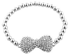 Ladies Silver Iced Out 3D Bow Bracelet with Metal Beaded Disco Balls Shamballah  http://electmejewellery.com/jewelry/bracelets/stretch/ladies-silver-iced-out-3d-bow-bracelet-with-metal-beaded-disco-balls-shamballah-com/