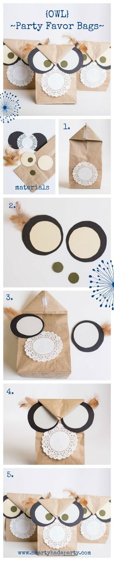 DIY Owl Party Favor Bags tutorial | SmartyHadAParty.com