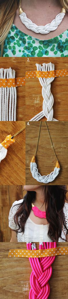 Amazingly Easy to Make DIY Fashion Projects - Fashion Diva Design/woven rope necklace Rope Jewelry, Rope Necklace, Fabric Jewelry, Jewelry Crafts, Handmade Jewelry, Jewelry Ideas, Necklace Extender, Beaded Crafts, Diy Accessories