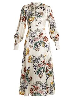 Erdem Orlena High-neck Floral-print Silk Dress In White Print White Silk Dress, Silk Floral Dress, Floral Dresses, Floral Chiffon, White Lace, Day Dresses, Dress Outfits, Fashion Dresses, Long Dresses