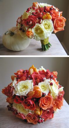 Fall Wedding bouquet... I like the colors, but not the berries