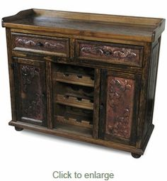 Distressed Wood and Embossed Copper Panel Buffet with Wine Rack