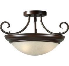 Semi-Flush ceiling fixture  $77.40Technical Specs  Bulb Base  Medium   Bulb Type  Incandescent or Fluorescent   Collection  Family   Glass  Umber Linen Glass, White Linen Glass   Height  9.75   Installation Type  Semi-Flush   Light.