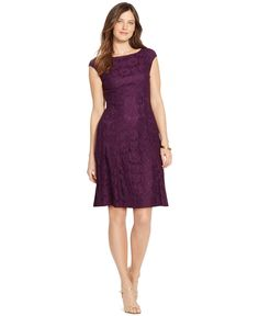 American Living Floral-Lace Cap-Sleeve Dress - Dresses - Women - Macy's