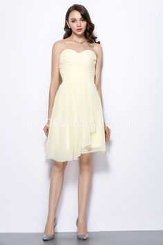 light yellow chiffon strapless sweetheart simple short a line bridesmaid dress