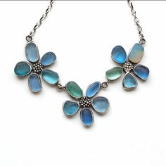 Three Flower Sea Glass Necklace by Tania Covo