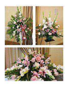 Color-coordinated funeral pieces. #sympathyflowers #JPParkerFlowers www.jpparkerco.com Funeral Floral Arrangements, Flower Arrangements, Casket Sprays, Funeral Tributes, Sympathy Flowers, Funeral Flowers, Flower Basket, Floral Design, Floral Wreath
