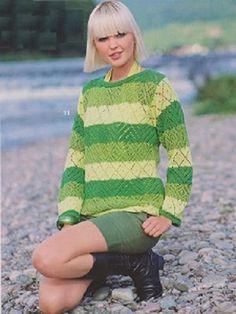 Žlutozelený krajkový pulovr | PLETENÍ – NÁVODY