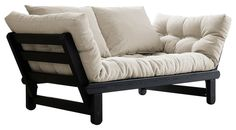 Beat Convertible Futon Sofa/Bed, Black Frame, Natural Mattress contemporary-futons