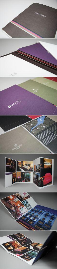 """ADHOTELS. Création d'un presse kit et des dépliants de chaque hôtel. Mandat réalisé au sein de la société """"E-citron SA"""". [2011]"""