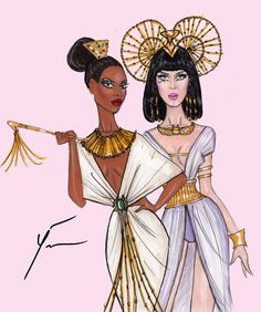 Katy Perry & Barbiegabon 'Union of Queens' by Yigit Ozcakmak Katy Perry Outfits, Cleopatra Dress, Egyptian Drawings, Fashion Illustration Sketches, Fashion Design Drawings, Textiles, Ancient Egypt, Designs To Draw, Fashion Art