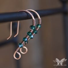 If you love a splash of color and sparkle, but prefer small, lightweight earrings, these are for you!    Handmade, wire-wrapped, copper ear wires with antiqued copper and Burgundy Swarovski crystals.  These can be custom made in a number of beautiful colors.  Please contact me for details!  ...