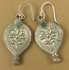 Large Old Indian Tribal silver earrings. Fine and sterling silver. – Gail Jewellery