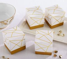 White and Gold Geometric Favor Box (Set of 24) #wedding #favorbox