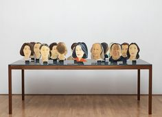 Alex Katz, Green Table, Wooden table with paint and wax; 17 painted heads, each oil paint on aluminium with bronze base Alex Katz, Sculpture Stand, Green Table, Art Case, Artwork Display, Exhibition Space, Display Boxes, Wooden Tables, Entryway Tables
