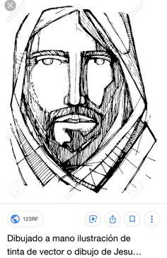 Hand drawn vector ink illustration or drawing of jesus christ face stock vector - 90042757 Illustration Art Drawing, Ink Illustrations, Jesus Art, Jesus Christ, Croix Christ, Jesus Drawings, Art Drawings, Art Therapy Projects, Fantasy Art Men