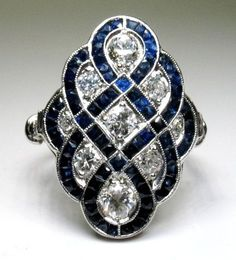 Rosamaria G Frangini | High Deep Blue Jewellery | Antique Art Deco Platinum, Diamond and Sapphire Ring. #antiques