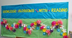 """Knowledge Blossoms with Reading"" bulletin board"